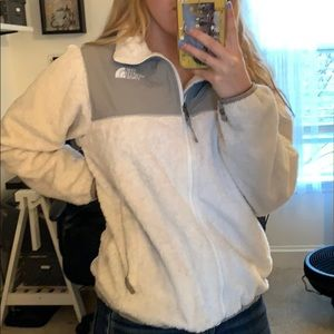 The north face white zip up fleece